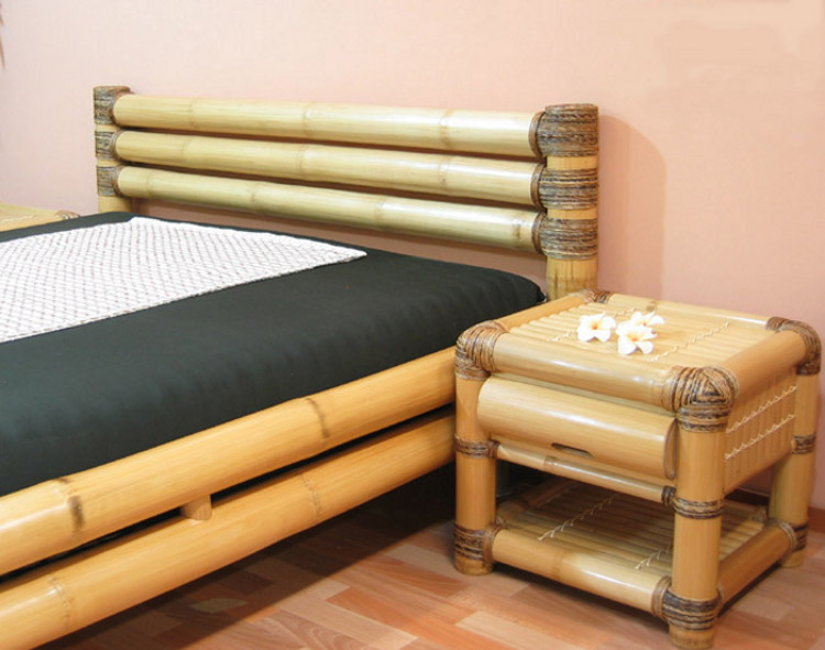 design bambusbett 200x220 wasserbett bettrahmen bettumrandung bambus ebay. Black Bedroom Furniture Sets. Home Design Ideas