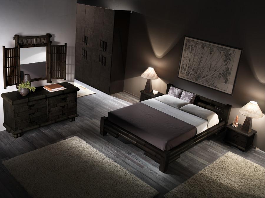 bambusbett 180x200 schwarz holzbett bambusm bel designerbett asiatisches bett. Black Bedroom Furniture Sets. Home Design Ideas